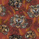 Tigers seamless pattern, vintage old school tattoo vector. Classic flash tattoo style, patches and stickers. Fashionable tigers heads and flowers roses pattern