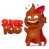 Super hero Poop emoticon icon cartoon character - 188085226