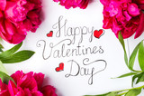 Happy Valentines day card with red roses on white