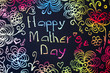 Handwritten Mothers day card with colorful letters