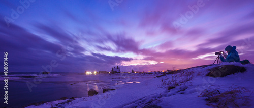 Foto op Canvas Violet Photographer shoots an incredible winter sunset in the polar night