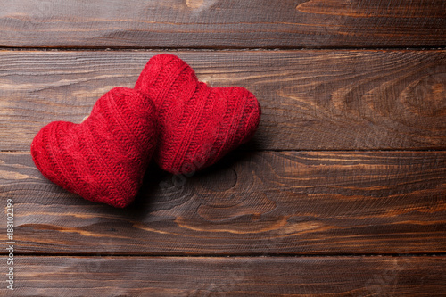 Valentines day greeting card with red hearts