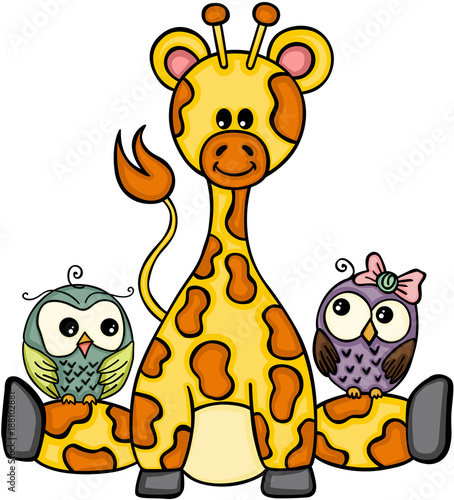 Cute giraffe with couple owls