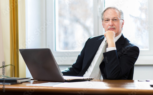 Senior manager at work in his office