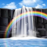 Fototapety Colored Waterfalls Realistic Composition