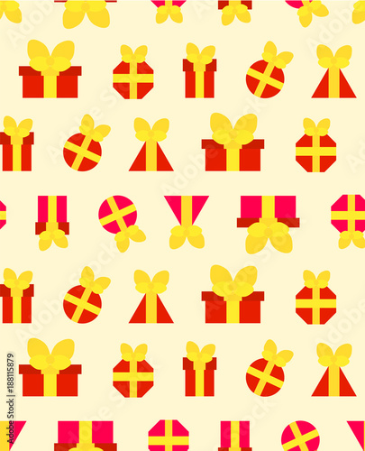 A pattern for festive paper from red gifts - 188115879