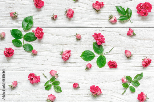 Flowers composition made of pink rose flowers with green leaves. Valentine's day background