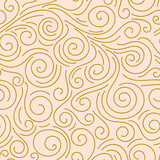Abstract hand drawn doodle thin line wavy seamless pattern. Curly linear sky or sea messy background. Vector illustration. - 188120881