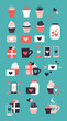 Set of cute romantic icons. Collection of flat illustrations with heart, gift, cupcake, flower, envelope. Modern trendy colors vector design.