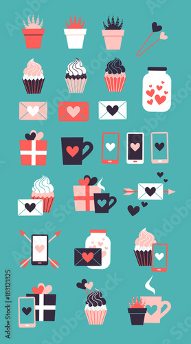 Sticker Set of cute romantic icons. Collection of flat illustrations with heart, gift, cupcake, flower, envelope. Modern trendy colors vector design.