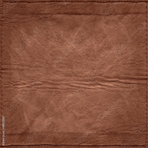Dark, brown, rough, crumple leather texture with seams for background use. - 188121880