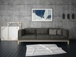 Mock up a modern living room with a comfortable sofa and hipster background. - 188122698