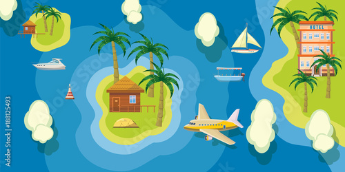 Sea rest banner horizontal top view, cartoon style