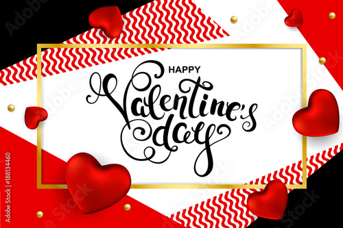 Happy Valentines day card  with hand drawn calligraphy and hearts. Vector illustration.