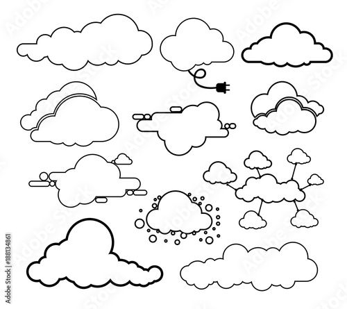 Papiers peints Cartoon draw Set of clouds line art icon. Storage solution element, databases, networking. Software image, cloud and meteorology concept. Vector illustration. Isolated on white background
