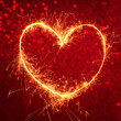 Royal red background with glowing heart