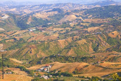 Foto Murales aerial view of San Marino landscape