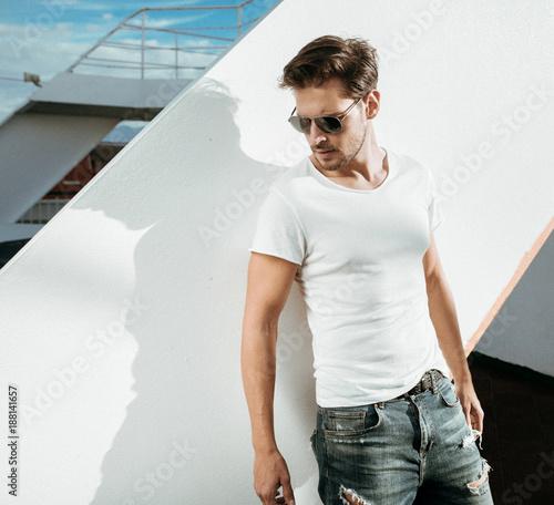 Aluminium Konrad B. Smart, handsome man on the boat