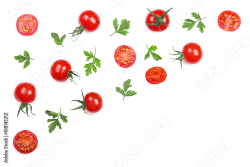 Foto Murales Cherry small tomatoes with parsley leaves isolated on white background with copy space for your text. Top view. Flat lay