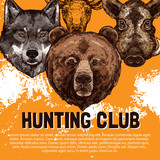 Vector sketch poster of wild animals hunting club