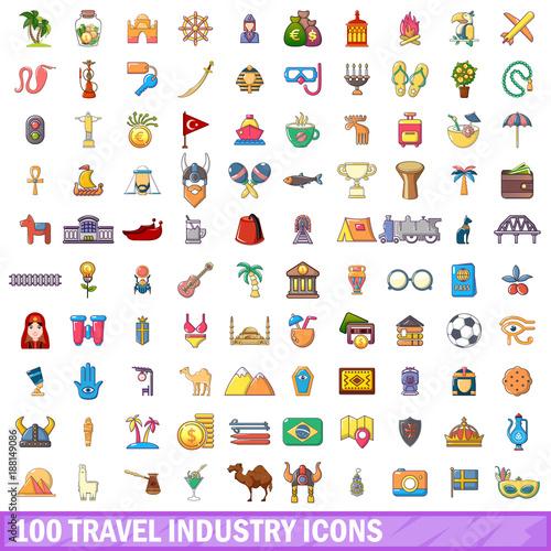 100 travel industry icons set, cartoon style