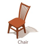 Chair icon, isometric style. - 188153854