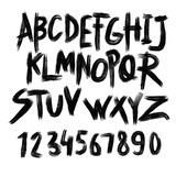 Alphabet poster, dry brush ink artistic modern calligraphy print. Handdrawn trendy design - 188160279