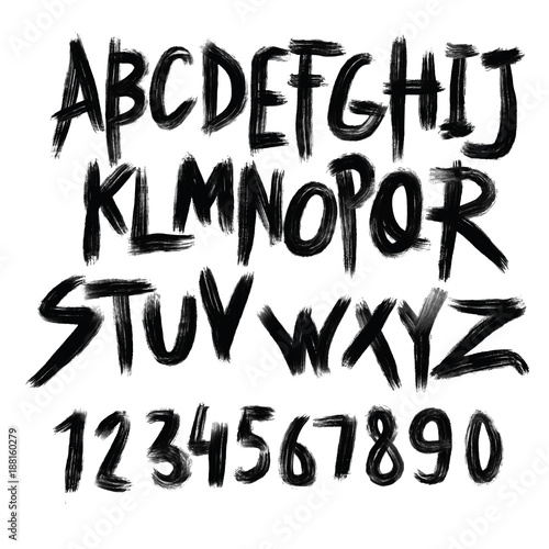 Alphabet poster, dry brush ink artistic modern calligraphy print. Handdrawn trendy design