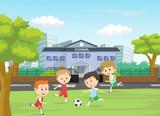 illustration of boys kicking football on the sports field - 188164657