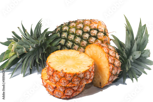 Foto Murales Pineapple isolated on white background