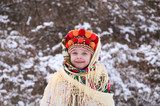 little girl in winter forest. dressed in the Ukrainian national clothes. - 188167063