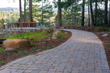 Garden Stone Brick Paver Walking Path to Backyard Deck