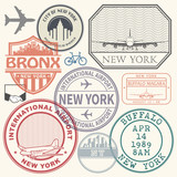 Retro postage USA airport stamps set New York - 188170802