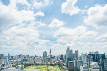 Cityscpae of bangkok district thailand with blue sky and cloud.