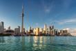Toronto city skyline at sunset, Toronto, Ontario, Canada.