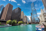 Chicago Downtown and beautiful Chicago river at sunny day, Chicago, Illinois.  - 188173479