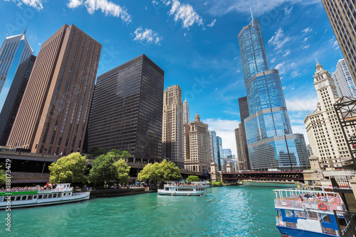 Chicago Downtown and beautiful Chicago river at sunny day, Chicago, Illinois.