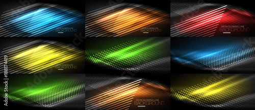 Set of neon smooth wave digital abstract backgrounds - 188174419