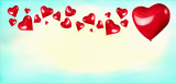 Red hearts shaped balloons on turquoise blue background. Love or Valentines day concept - 188176838