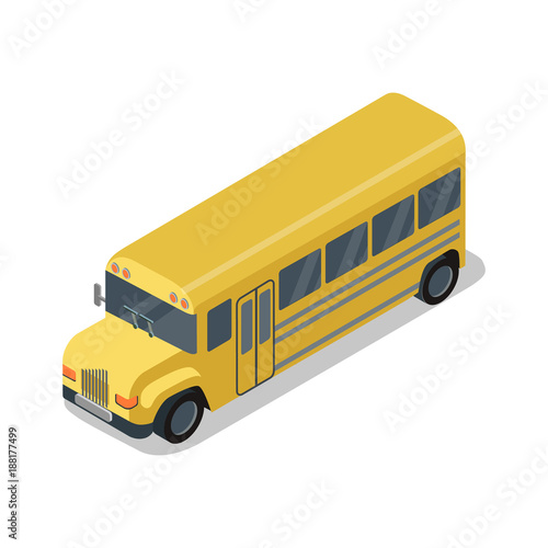Yellow school bus isolated isometric 3D icon