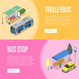 Trolleybus and bus station isometric 3D posters