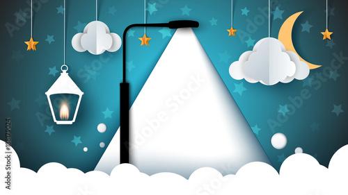 Papiers peints Bleu vert paper landscape. sky, lamp, bulb, cloud moon flashlight star Vector eps 10