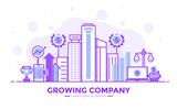 Flat Line Purple color Modern Concept Illustration - Growing Company - 188181255