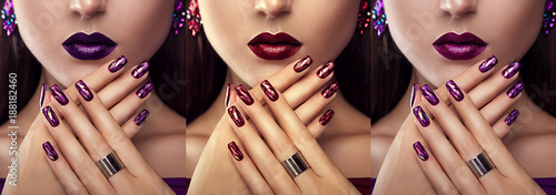 Papiers peints Manicure Beautiful woman with different make-up and manicure wearing jewellery. Three variants of stylish looks