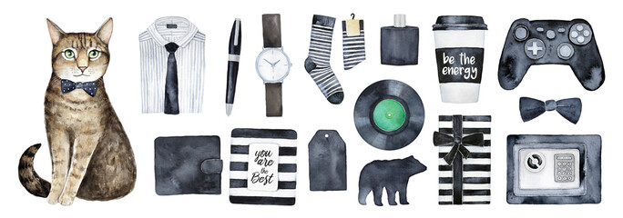 Man presents set. Decor elements for birthday card or other holiday event, male gift ideas guide. Wrapped boxes, men's clothes and stuff. Black and white stripes style. Hand drawn art items, cut out. © Julija