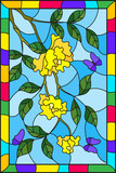 Illustration in stained glass style with flowers  , leaves of  yellow rose and purple butterflies on the sky background in a frame - 188189035