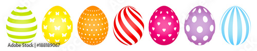 7 Easter Eggs Color White Pattern - 188189067