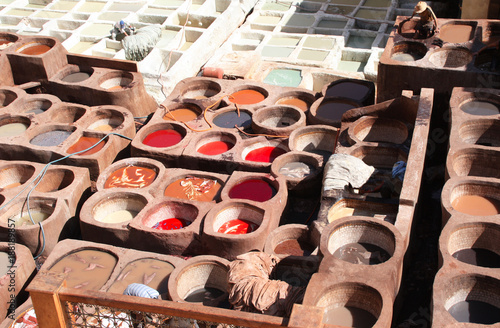 Coloration of leather in a traditional tannery, Fes, Morocco