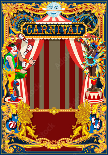 Aluminium Vintage Poster Carnival poster template. Circus vintage theme for kids birthday party invitation or post. Quality vector illustration.