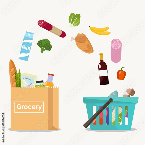 Groceries falling from a shopping basket into a paper bag. Vector illustration flat design.